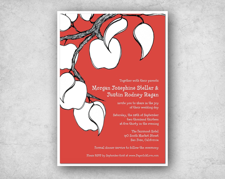 20 Double Layer Apple Tree Wedding Invitations Apple Wedding ...