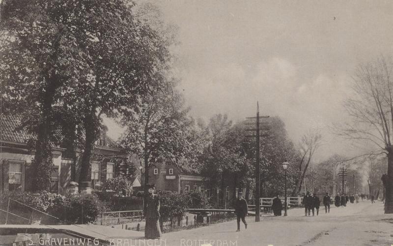 's-Gravenweg gezien uit het westen. (datering: 1905, pbk 2345)