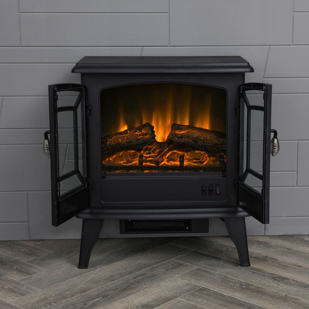 Lokatse Home 20 In Freestanding Electric Fireplace In Black Fd19452 The Home Depot In 2021 Electric Fireplace Freestanding Fireplace Small Electric Fireplace