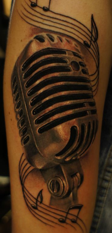 microphone Tattoos For Women | oldschool mic by strangeris ... | 370 x 770 jpeg 40kB