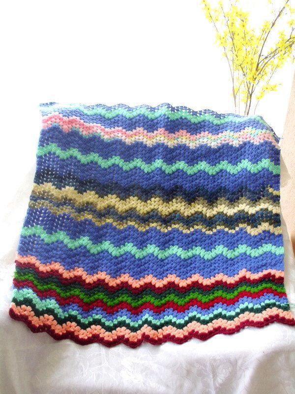 crochet blanket,V stich crochet blanket, handmade blanket, crochet ...