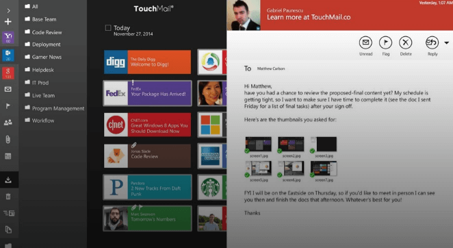 Touchmail For Windows 10 Microsoft Surface Email Client Microsoft