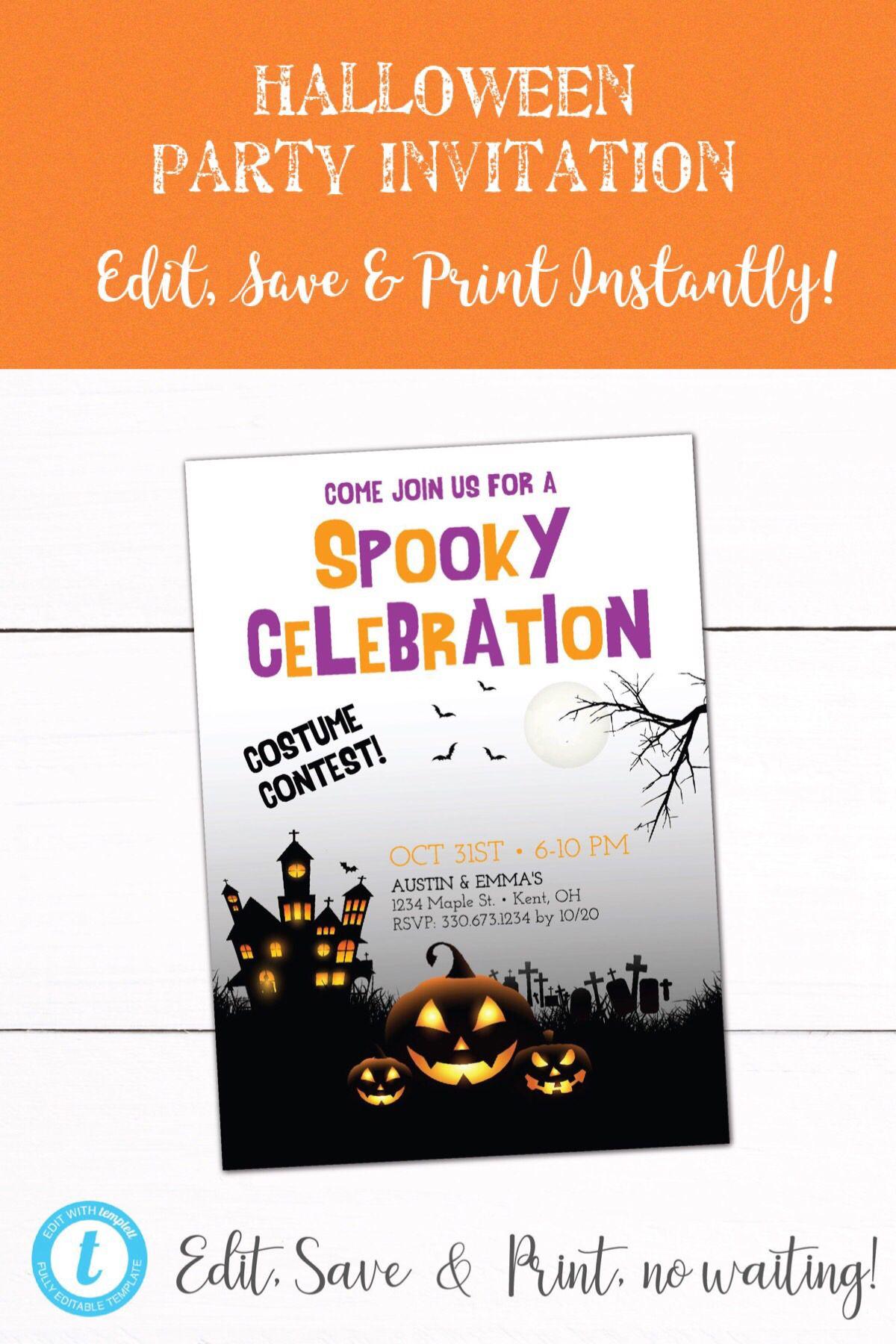 halloween costume party 2018 trick or treat invitation halloween .