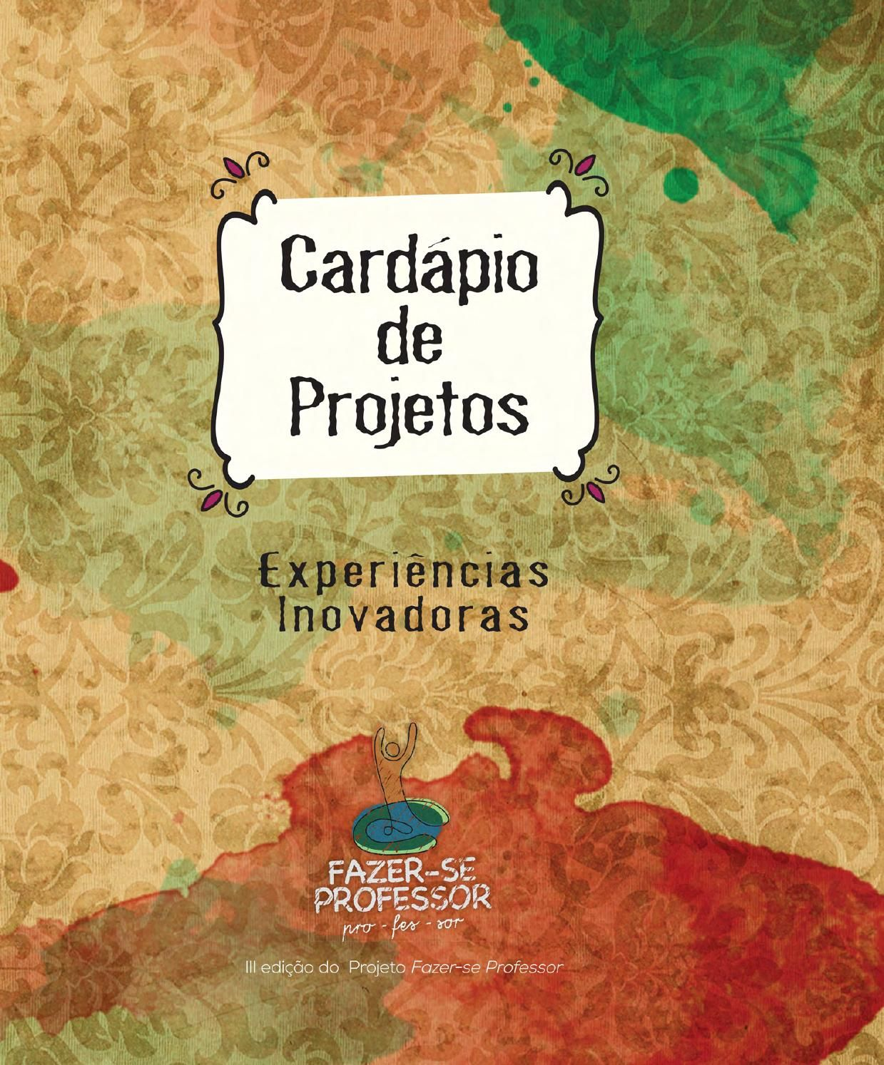 Cardapio De Projetos Projeto Educacao Infantil Educacao