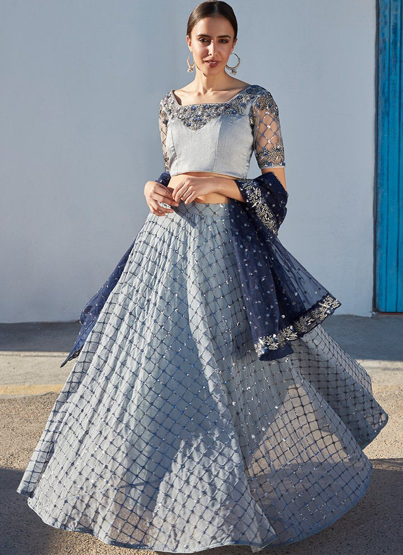 5b841bd056 Dusty Blue Grey and Navy Blue Embroidered Lehenga in 2019 | Indian ...