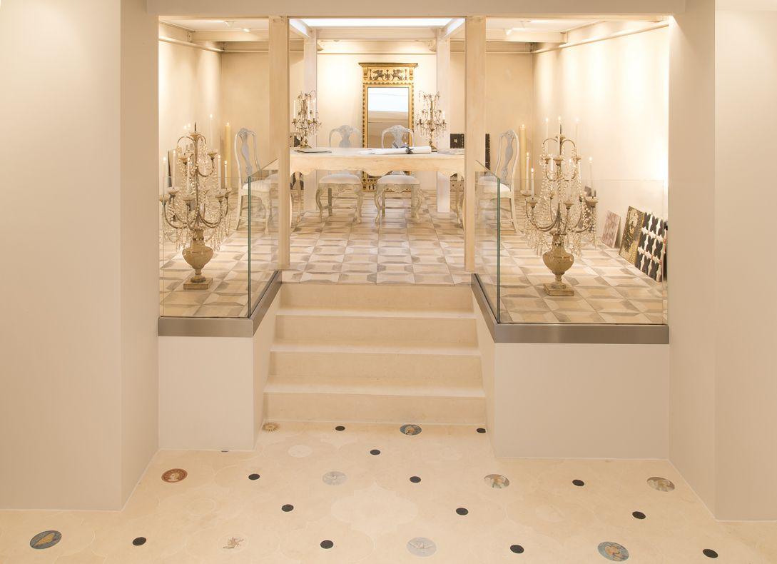 Rhomboid floor and angel floor, handpainted limestone