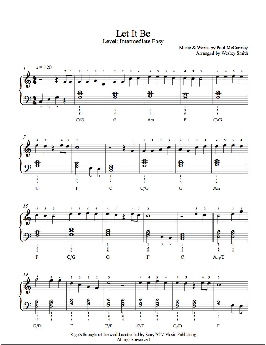 photo relating to Let It Be Piano Sheet Music Free Printable named Enable It Be through The Beatles Piano Sheet Songs Intermediate