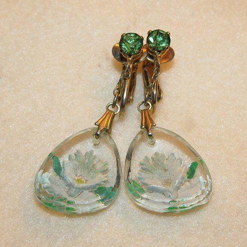 Vintage Lucite Reverse Carved Flower Painted Dangle Earrings Green Rhinestone