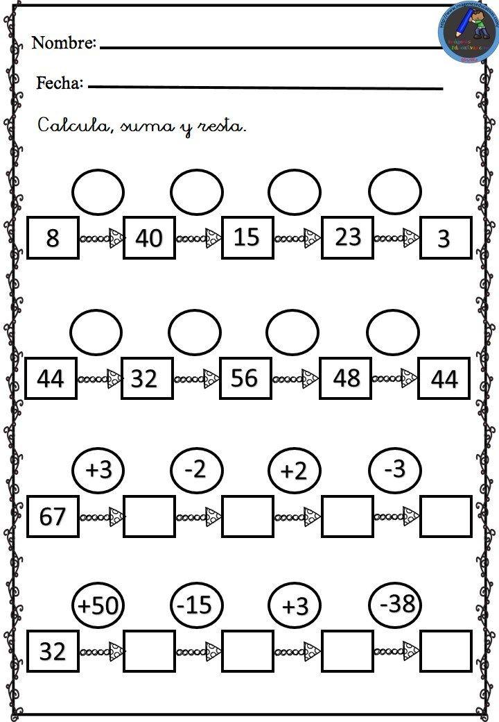 Fichas calculo mental sumas y restas (5 | matemáticas 4to | Pinterest