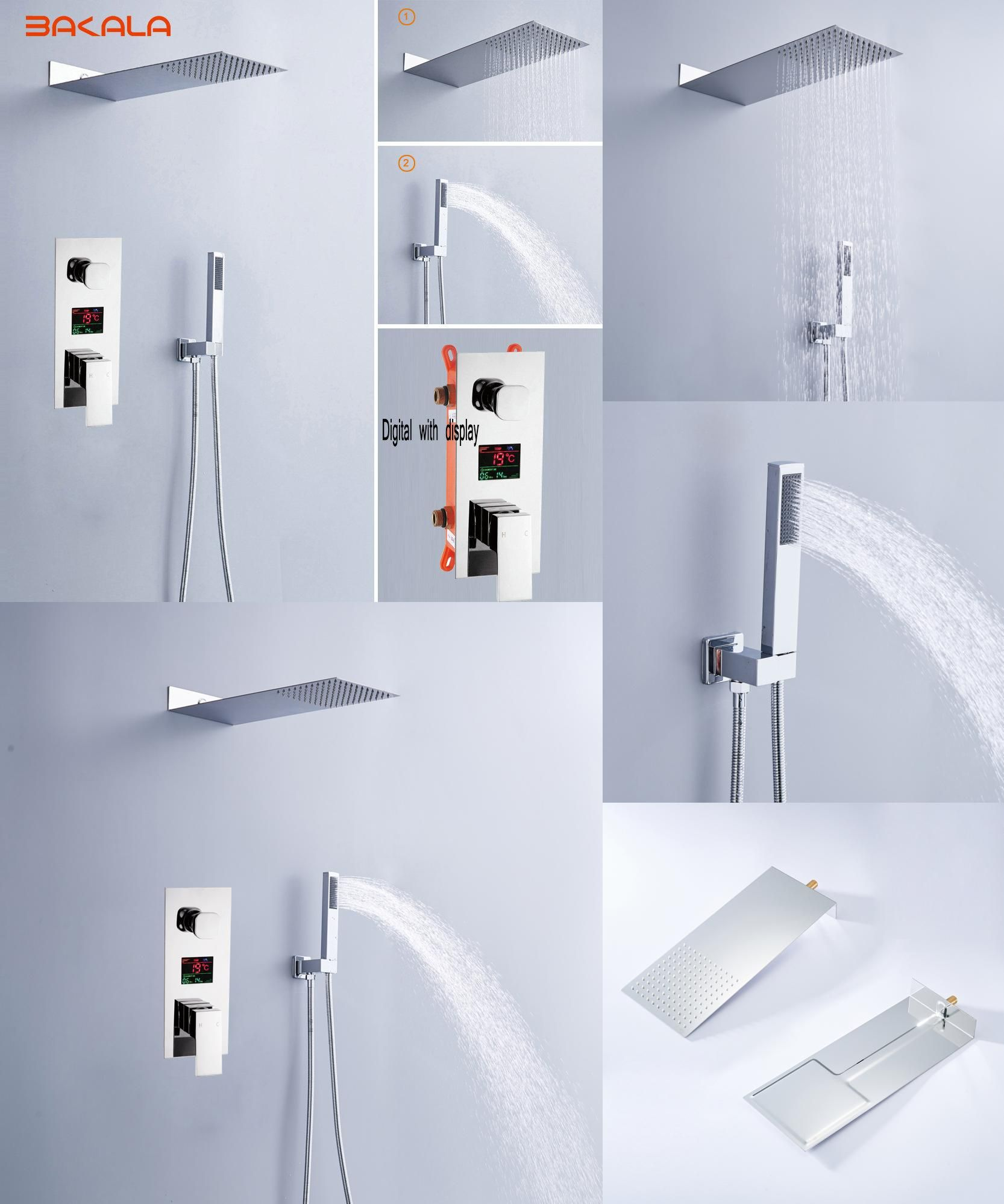 Visit to Buy] Luxury Rain Bath Combination Shower Mixer Digital Wall ...