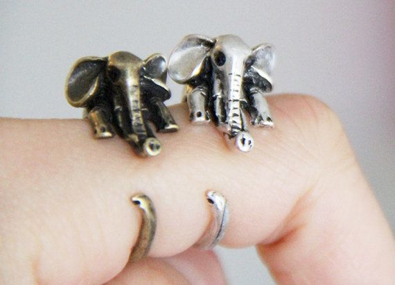 Elephant ringsantique bronze gold silver cute by TwinkleJewel1