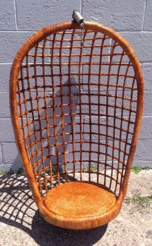 hanging chair ebay cover rentals vancouver bc vintage mid century modern basket bamboo rattan swing