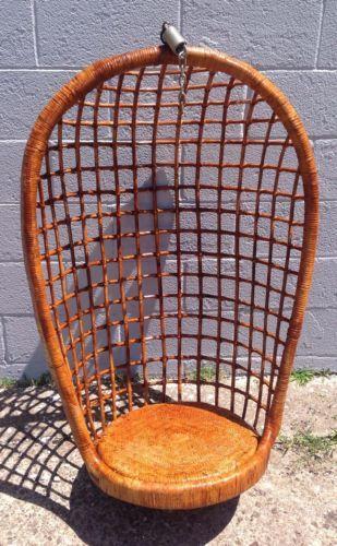Vintage Mid Century Modern Hanging Basket Bamboo Rattan Swing Chair Ebay