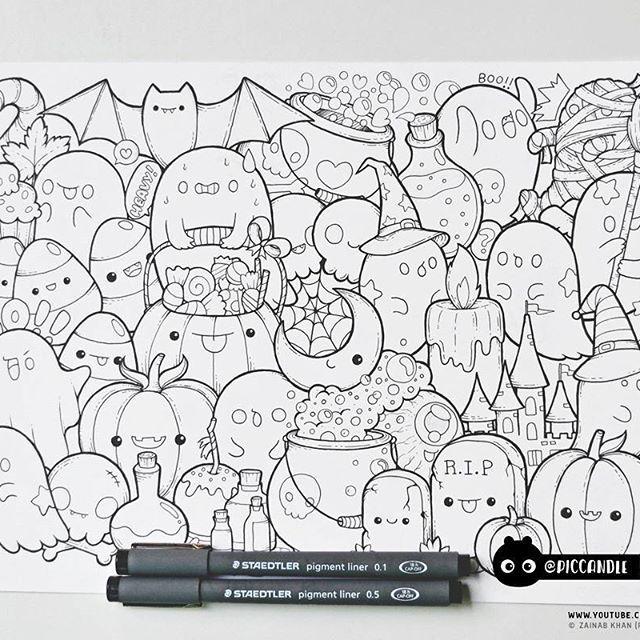 Inktober Day 19 Halloween Inktober2016 Doodle Coloring Page Doodle Coloring Doodle Drawings Cute Drawings