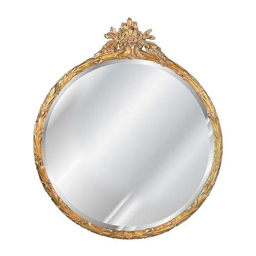 Hickory Manor House Antique Gold Round Flower Basket Mirror 6030v Ag Antique Gold Mirror Round Gold Mirror Antique Mirror