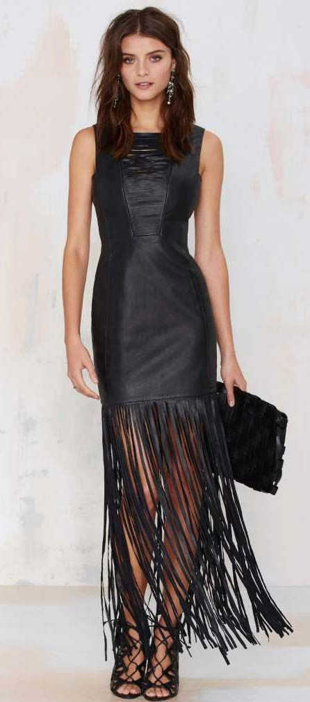 Dominate Fringe Leather Dress. Wouldn't it be fun to have a place to wear this!