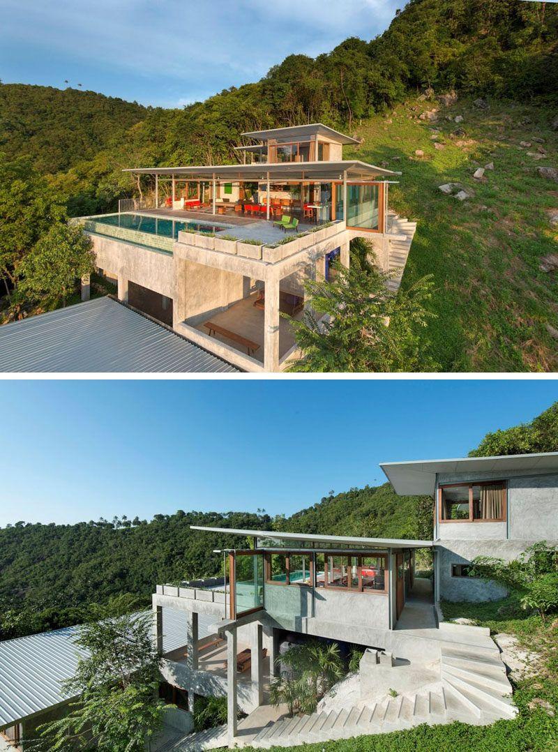 Dieser Hausbesitzer Entwarf Sich Ein Sehr Offenes Haus Auf Der Seite Eines Hugels Dieser Eines Entwarf Hausbe Architecture House Hillside House Rest House