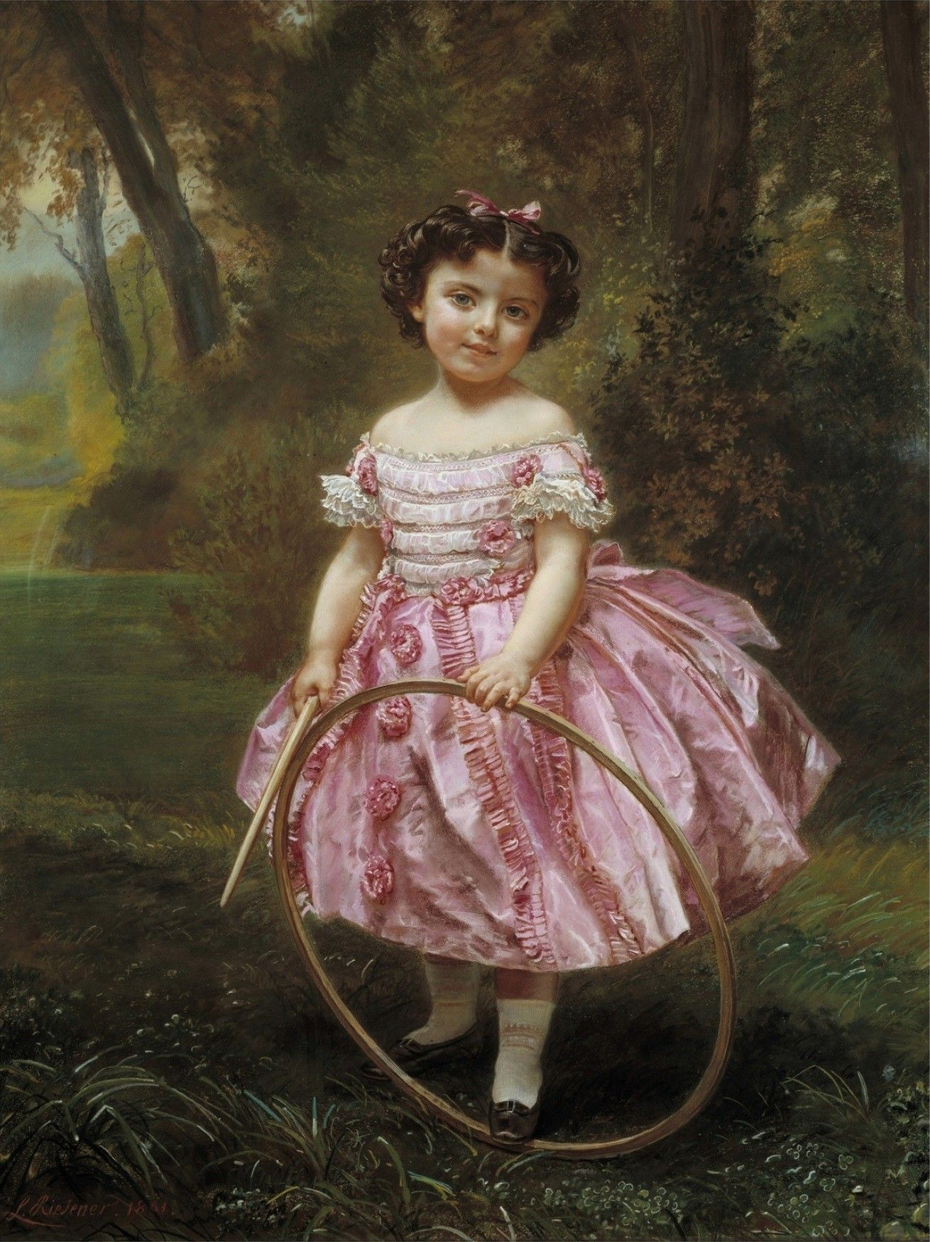 A Victorian Child With A Hoop Vintage Art Kids Portraits