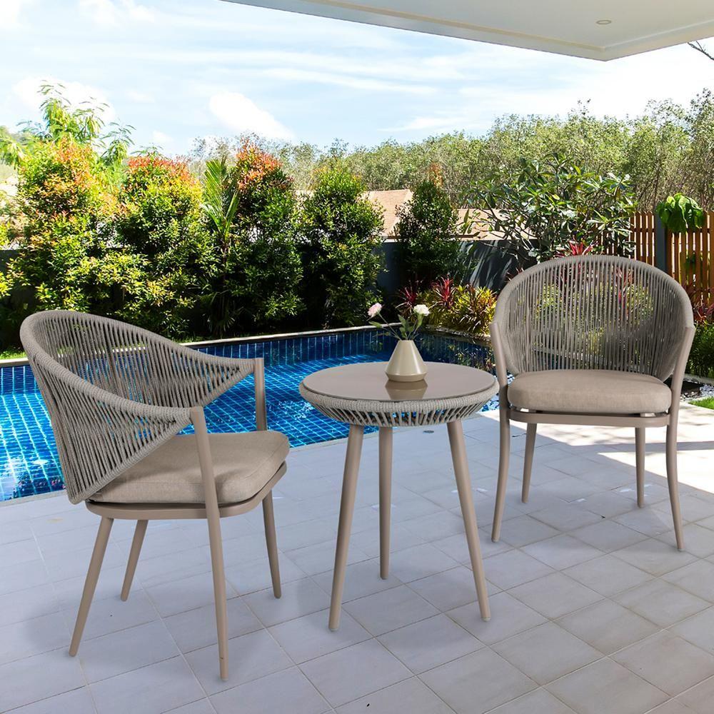 Nuu Garden 3 Piece Aluminum Outdoor Bistro Set With Coffee Cushion
