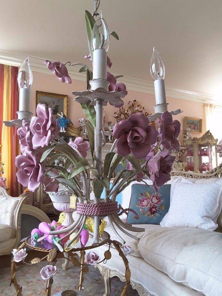 Shabby Pink Huge Painted Porcelain Rose Tole Chandelier 4 Boudoir Candleabras