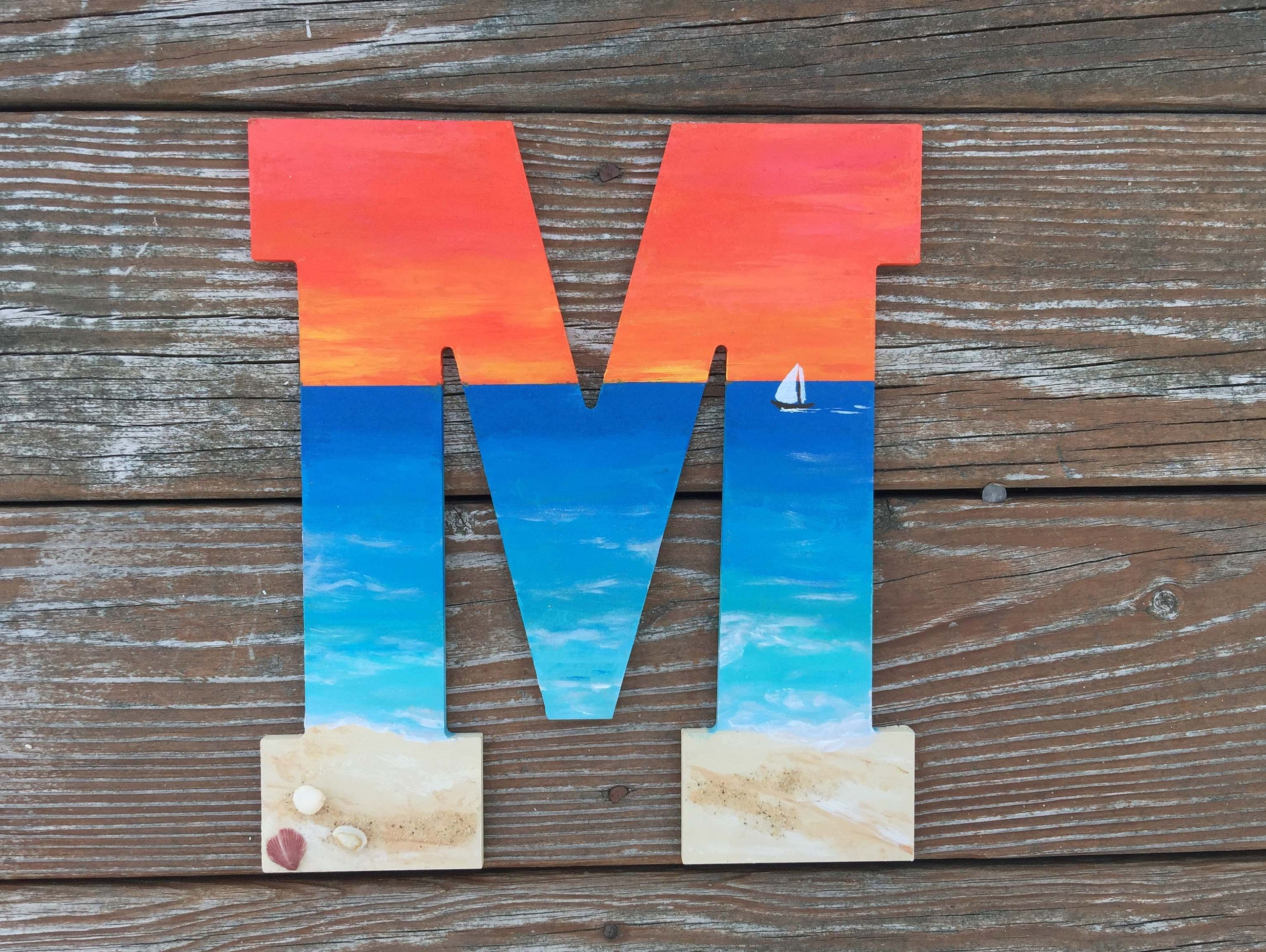 Hand Painted Letters, Tropical Sunset Beach Letters, Wooden Initials, Painted