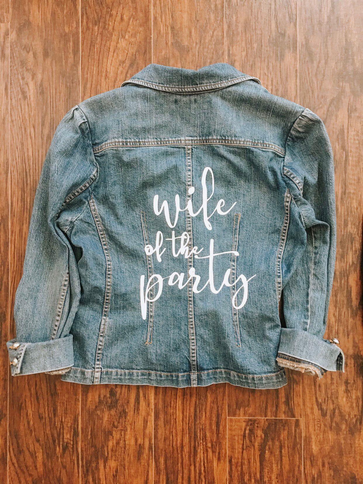 Wife Of The Party Custom Jean Jacket Bride Bachelorette Etsy In 2020 Custom Jean Jacket Honeymoon Bridal Showers Bride Bachelorette [ 1656 x 1242 Pixel ]