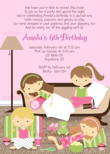 Slumber Party Birthday Invitation by Kimbellished Girl Birthday - best of birthday invitations sleepover party