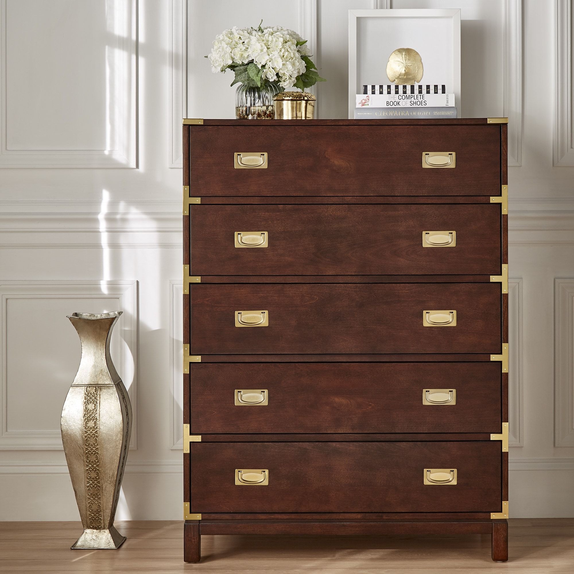 Kedric 5-Drawer Gold Accent Chest by iNSPIRE Q Bold ...