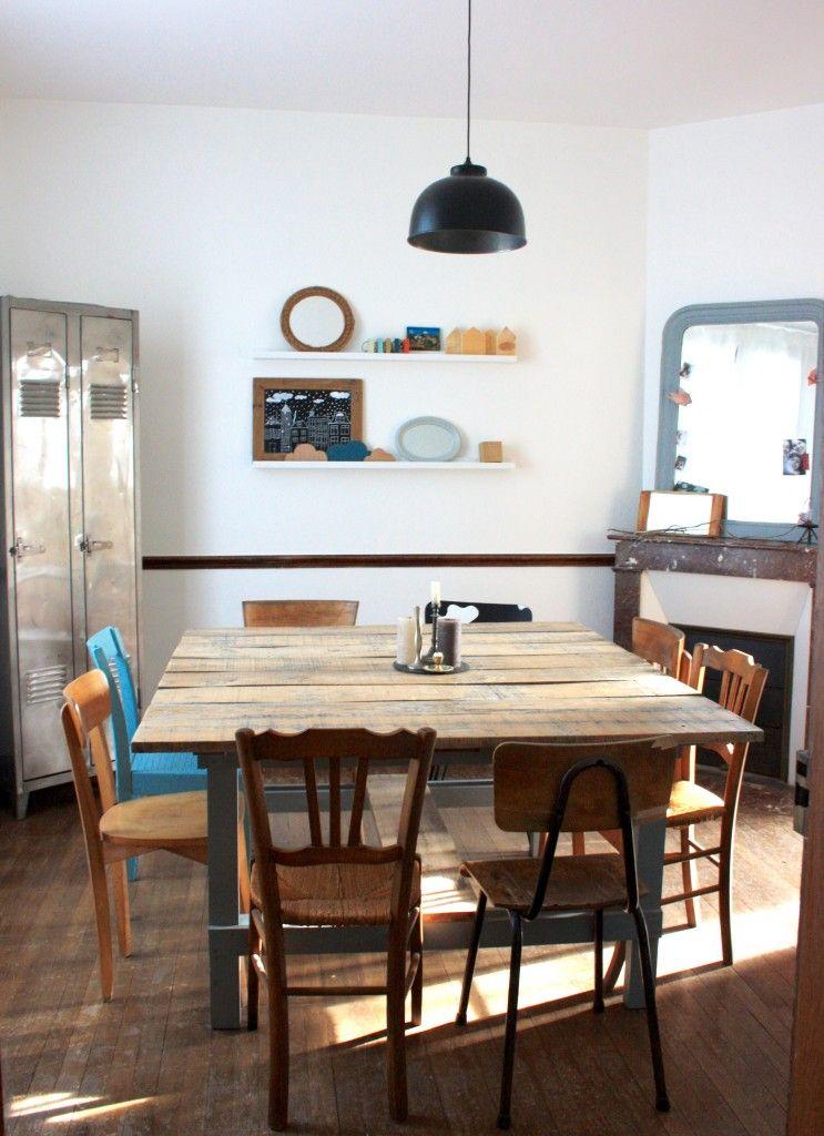 Salle à manger entre tendances brocante vintage et recup Table