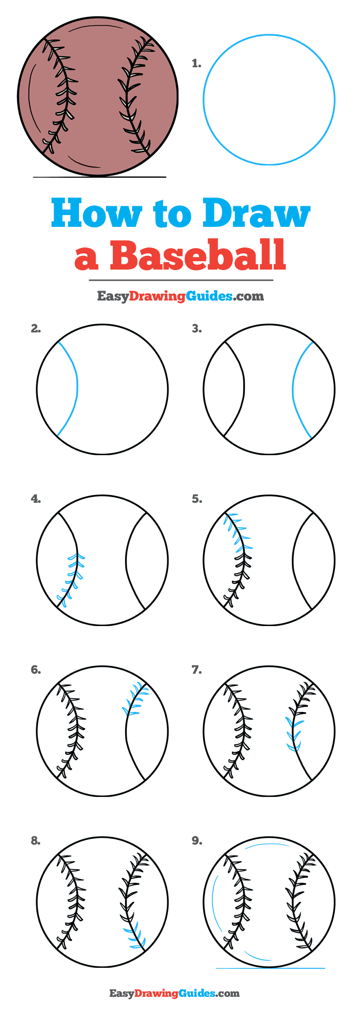 How To Draw A Baseball Drawing Tutorial Easy Drawing Tutorial
