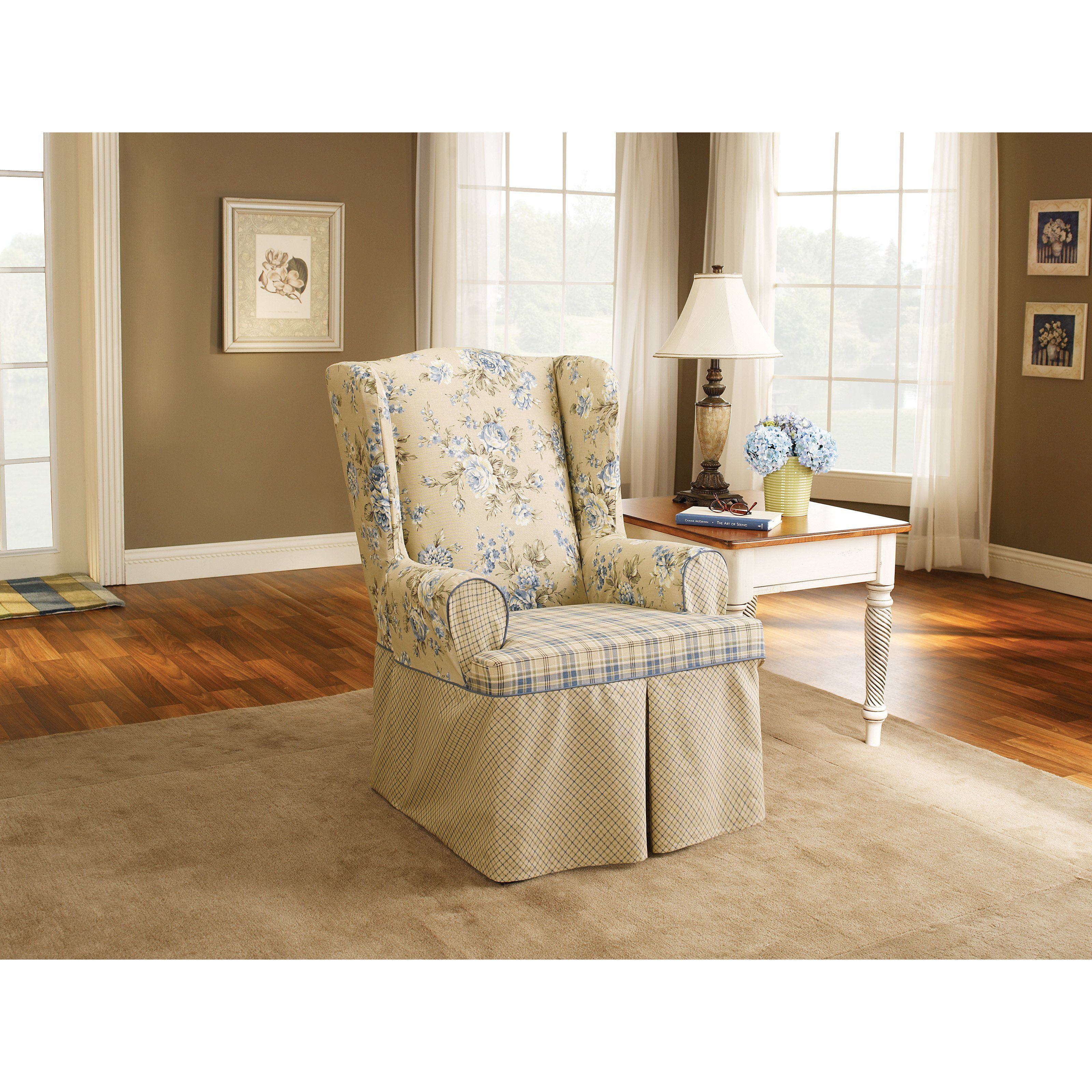 Sure Fit Lexington Cushion Wing Chair Slipcover from