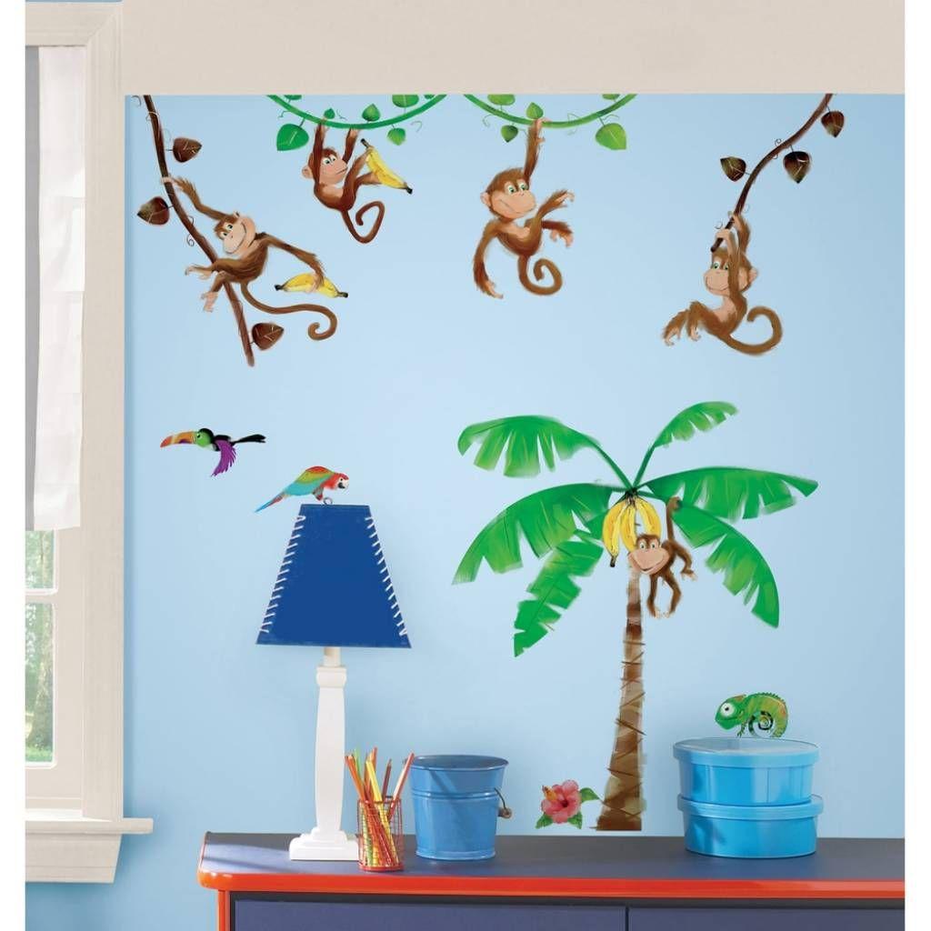 decoratie stickers: muurstickers slinger aapjes kinderkamer, Deco ideeën