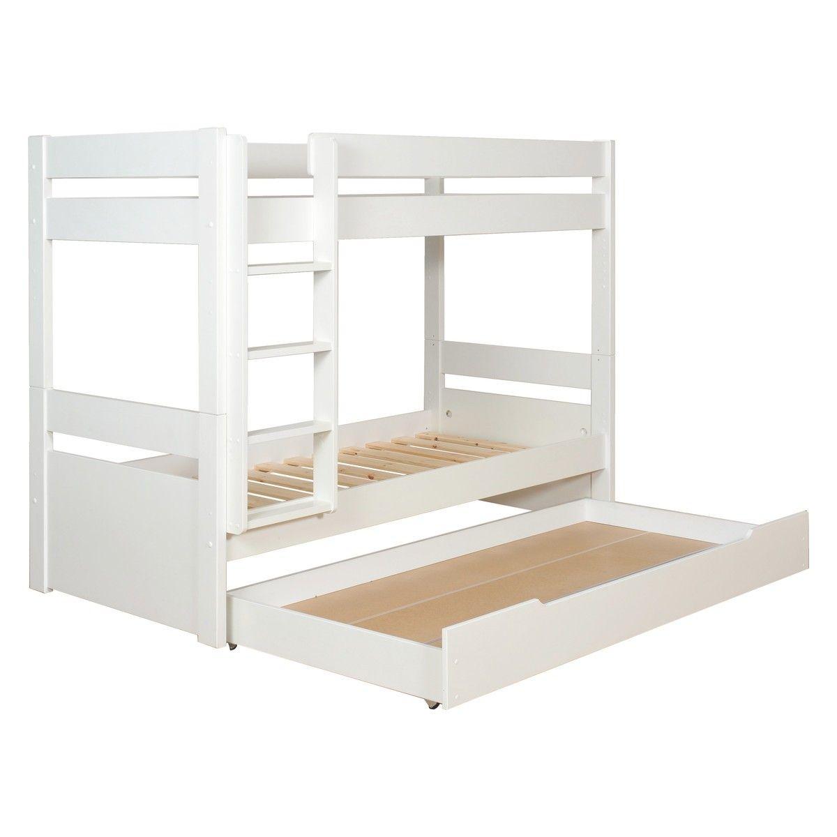 PONGO Kids white EU single detachable bunk bed with storage Bunk