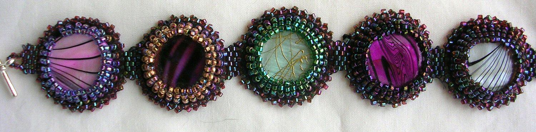 Bright beaded button bracelet. $35.00, via Etsy.