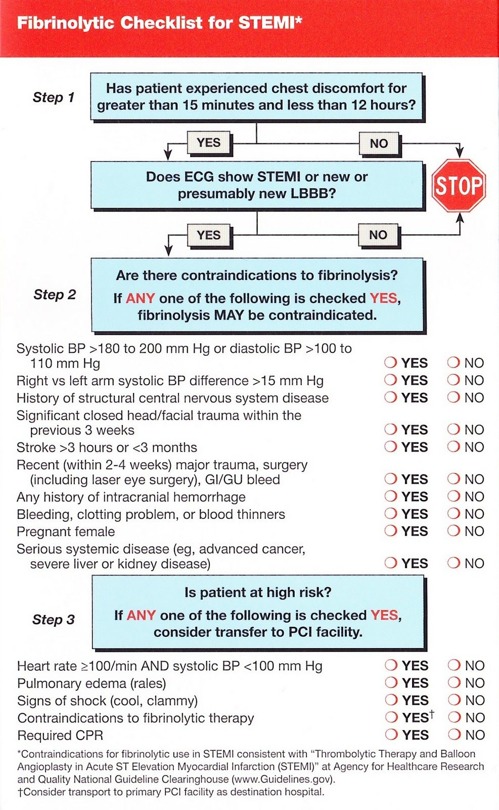 Fibrinolytic checklist for stemi aclsbls pinterest nurse education nvjuhfo Gallery