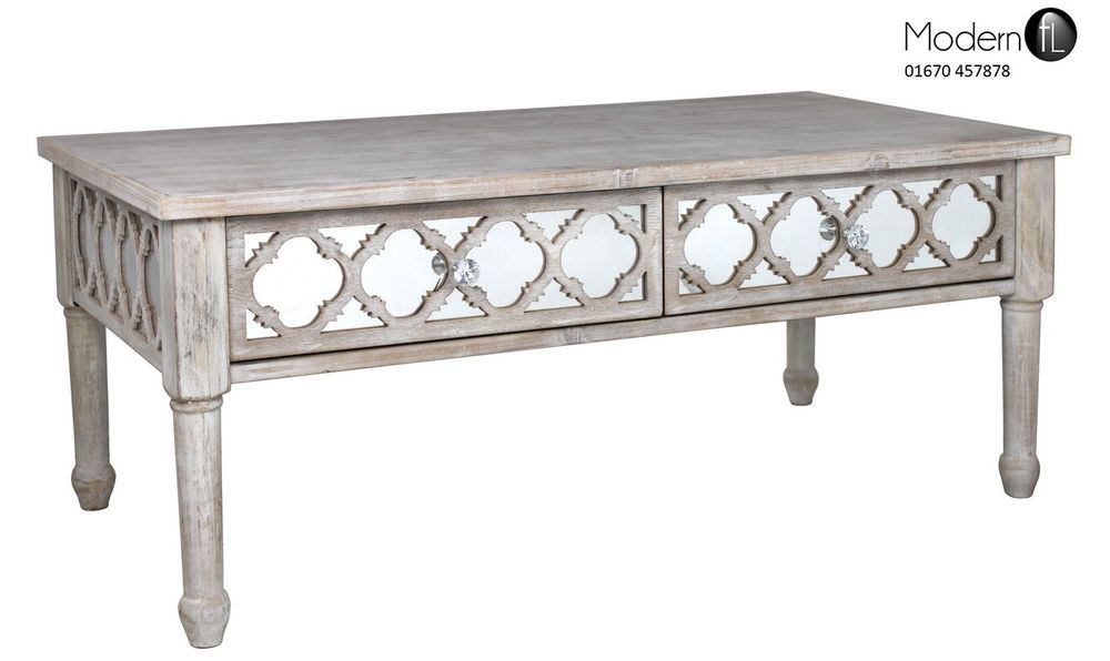 Washed Wood Coffee Table With Mirrored Front And Mirror