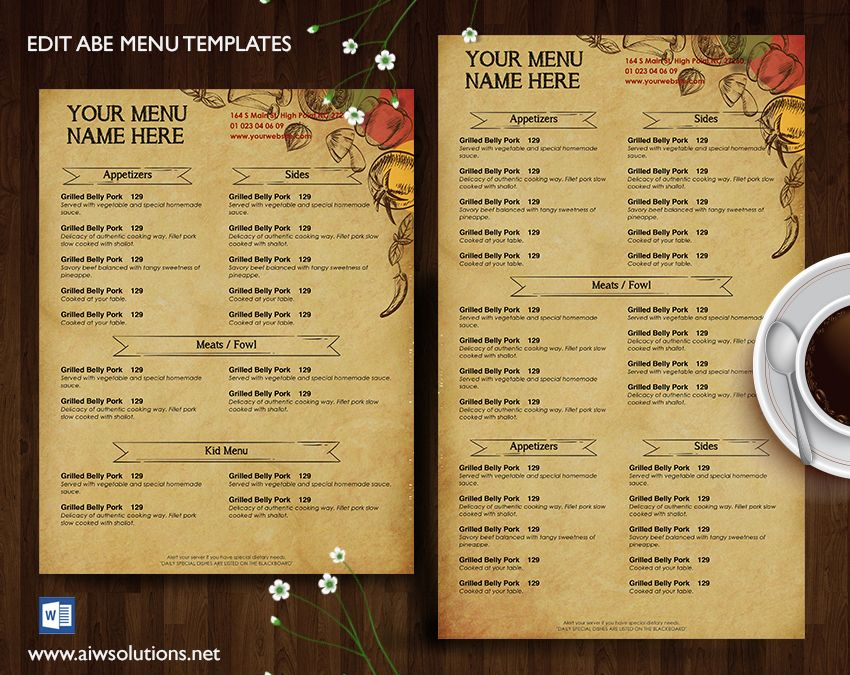 Menu u2013 id27 French restaurant menu, Restaurant menu template and - how to make a food menu on microsoft word