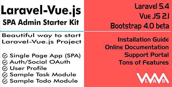 Download Laravel Vue js SPA Admin Starter Kit Nulled Latest Version