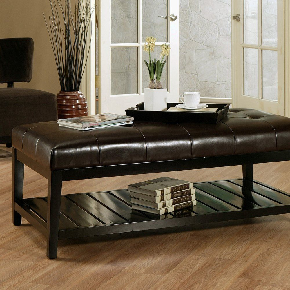 - Winslow Bicast Tufted Leather Coffee Table Ottoman Leather