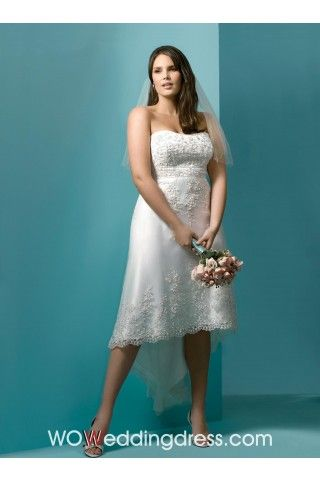 Best Romantic Sheath/Column Asymmetry-length Plus Size Wedding Dress ...
