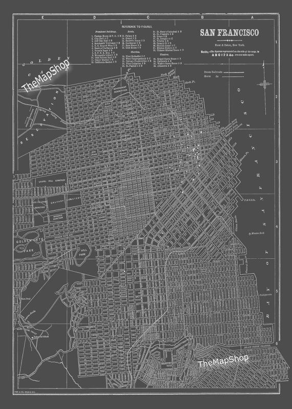 San Francisco Map San Francisco Street Map Vintage Dark Gray ... on san francisco street parking map, san francisco attractions, san francisco haight-ashbury 60s, san francisco 1800s, venice street map print, london street map print, san francisco beaches swimming, key west street map print, san francisco cable car routes, san francisco 1915, san francisco street car map,