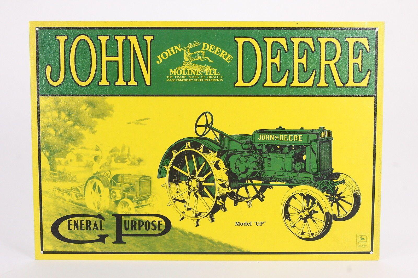 John Deere Repro Metal Sign General Purpose Tractor Yellow & Green ...