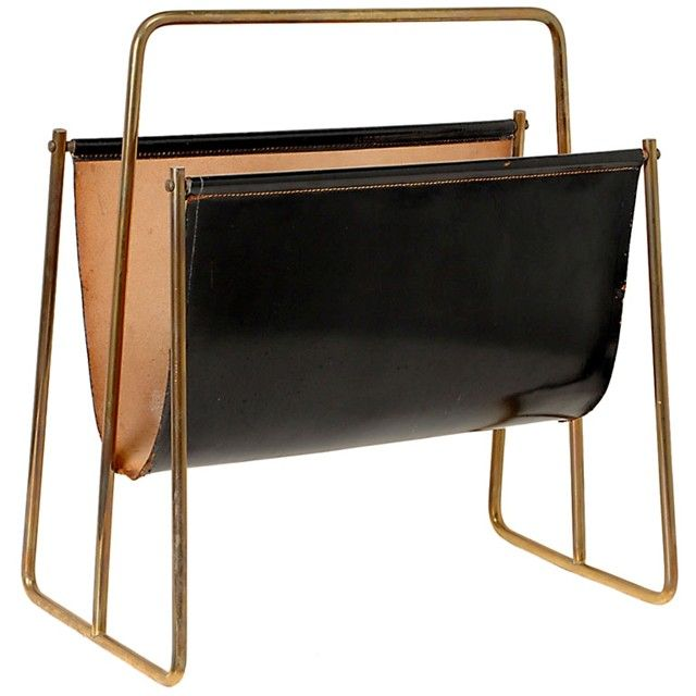1950s Carl Aubock Leather Sling And Brass Large Magazine Rack Leather Furniture Detail Leather Magazine Rack Leather Furniture