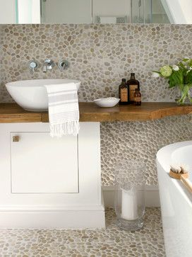 Contemporary Bathroom Using Tan Pebble Tiles Found At Www Pebbletile