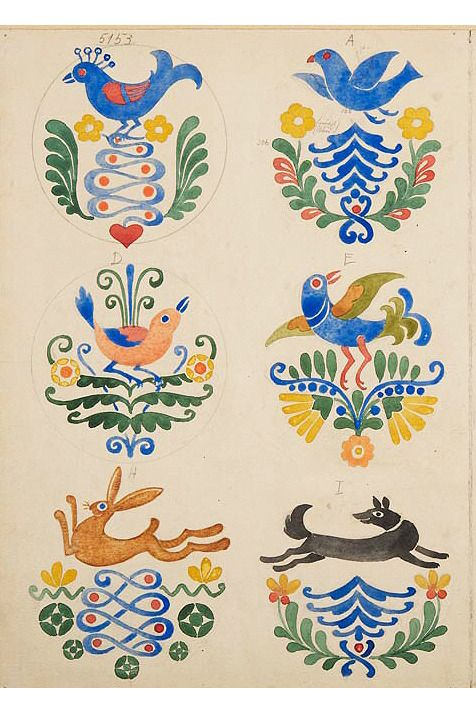 Geza Nikelszky Decor Illustration 1910 Pecs Hungary Museum Of Applied Arts Budapest Folk Art Painting Scandinavian Folk Art Polish Folk Art