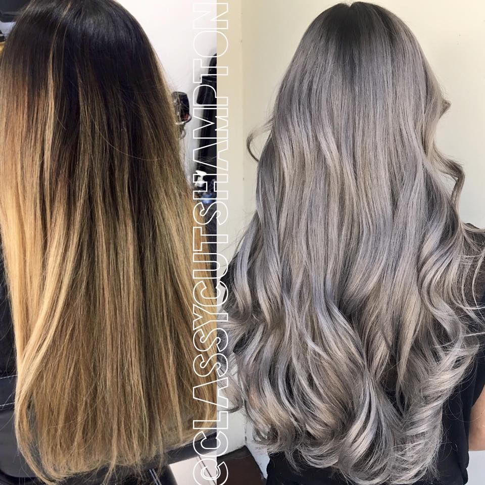 Classy cuts hampton - with the big help of @olaplex @olaplexau we did a double color lift then toned her to a gorgeous silver grey blonde 😍Absolutely Gorgeous trim then styled with @cloudnineoz waving wand