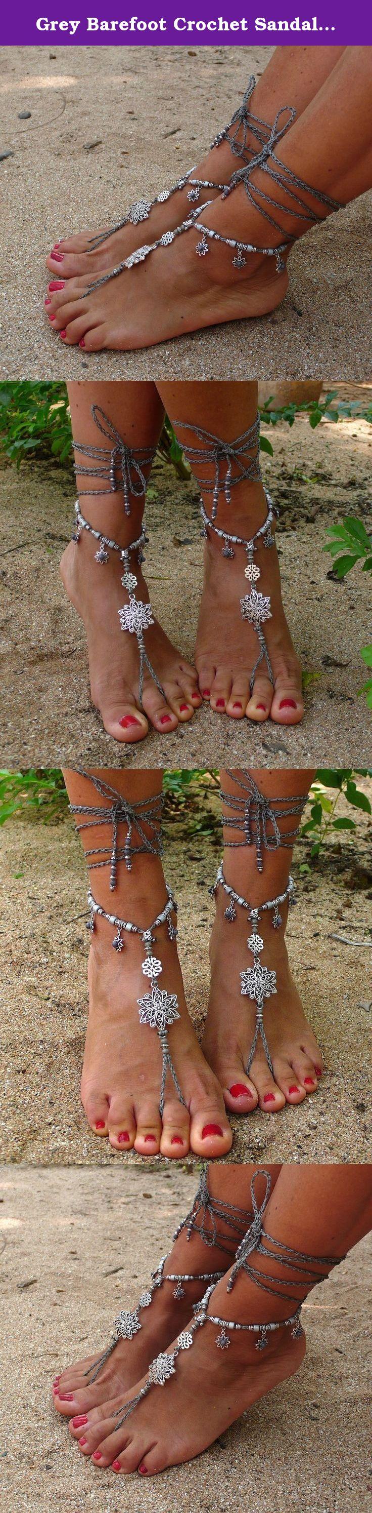 Grey Barefoot Crochet Sandals Silver Flower Hippie Outdoor