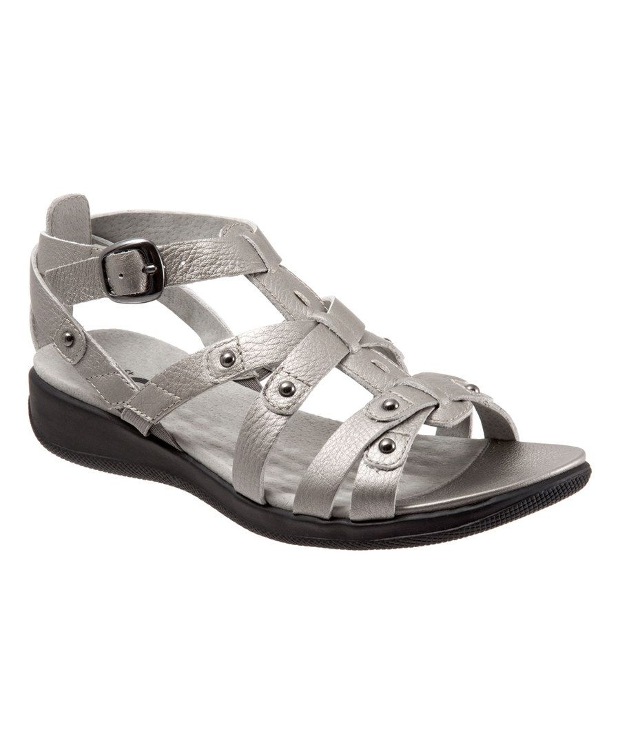 Look at this Soft Pewter Torino Leather Sandal on #zulily today!