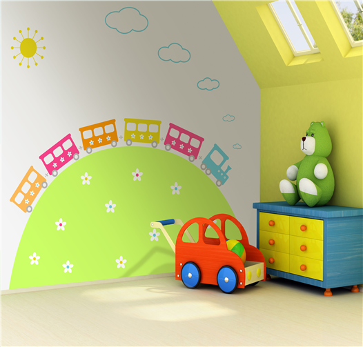 Love This Cute Train Mural For Kids Playrooms! Part 41