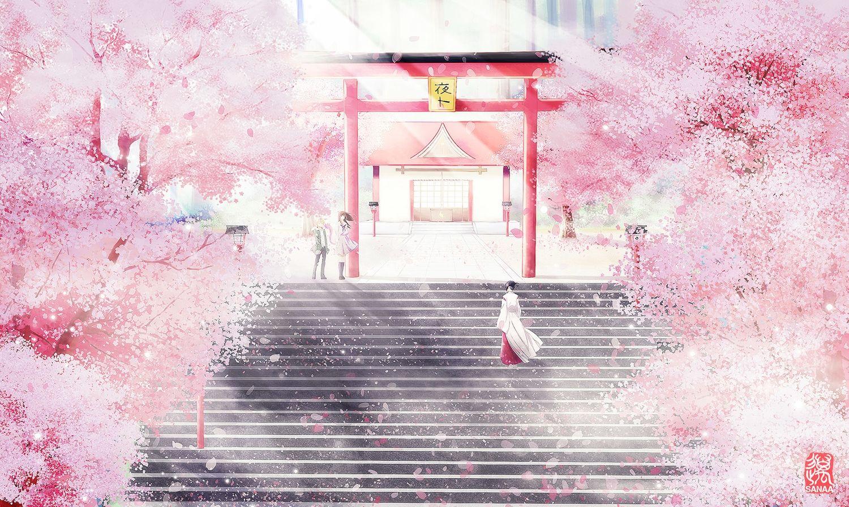 Cherry Blossoms Iki Hiyori Japanese Clothes Noragami Sanaa Scenic Seifuku Shrine Stairs Torii Tree Yato Anime Cherry Blossom Cherry Blossom Wallpaper Noragami Anime japanese cherry blossom wallpaper
